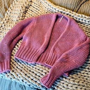 Free People pink cropped cardigan